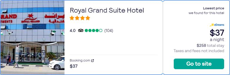 Stay at the 4* Royal Grand Suite Hotel in Sharjah, UAE for only $37 USD per night. Flight deal ticket image.