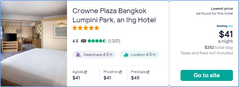 Stay at the 5* Crowne Plaza Bangkok Lumpini Park, an Ihg Hotel in Bangkok, Thailand for only $40 USD per night. Flight deal ticket image.