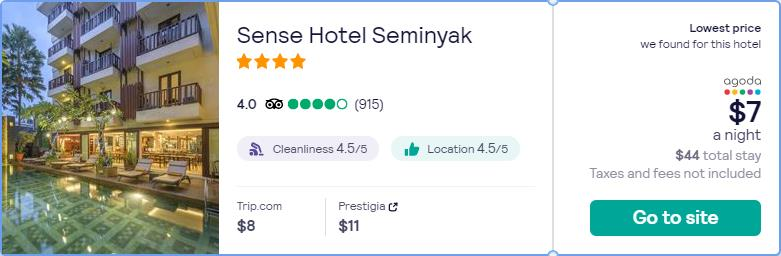 Stay at the 4* Sense Hotel Seminyak in Bali, Indonesia for only $7 USD per night. Flight deal ticket image.
