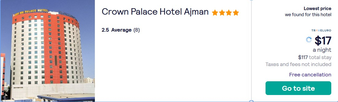 Stay at the 4* Crown Palace Hotel Ajman in Ajman, UAE for only $17 USD per night. Flight deal ticket image.