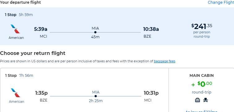 Cheap flights from US cities to Belize City, Belize from only $241 roundtrip with American Airlines. Flight deal ticket image.