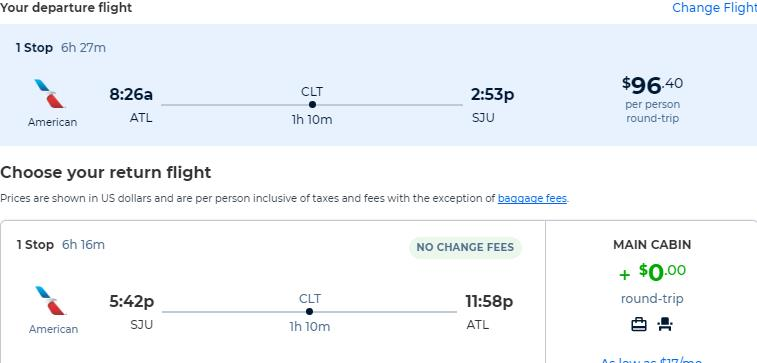 Cheap flights from Atlanta to San Juan, Puerto Rico for only $96 roundtrip with American Airlines. Flight deal ticket image.