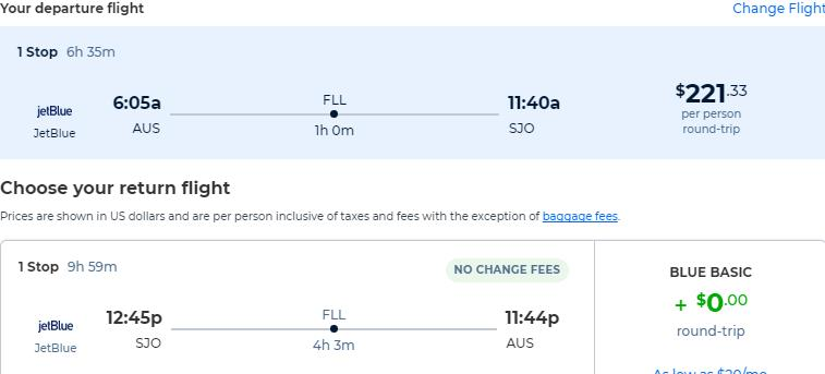 Cheap flights from Austin, Texas to San Jose, Costa Rica for only $221 roundtrip with JetBlue. Flight deal ticket image.