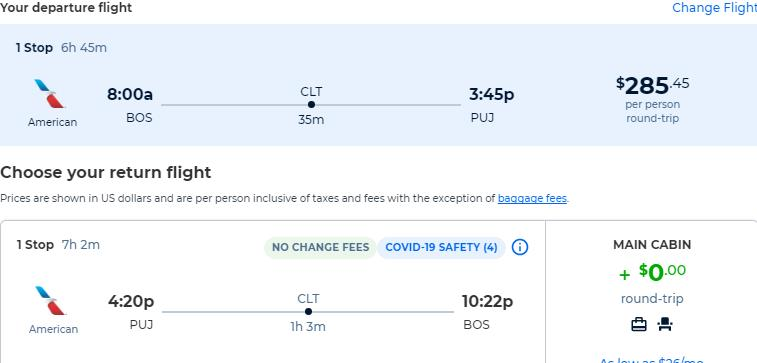 Cheap flights from Boston to the Dominican Republic for only $285 roundtrip with American Airlines. Flight deal ticket image.