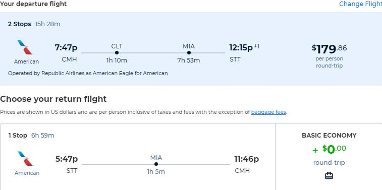 Cheap flights from Columbus to the US Virgin Islands for only $179 roundtrip with American Airlines. Flight deal ticket image.