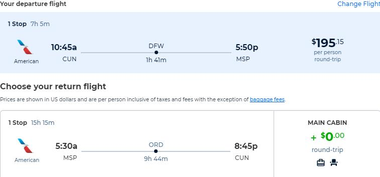 Cheap flights from Cancun, Mexico to Minneapolis, USA for only $195 USD roundtrip with American Airlines. Flight deal ticket image.