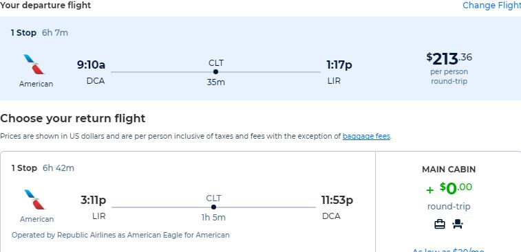 Cheap flights from Washington DC to Liberia, Costa Rica for only $213 roundtrip with American Airlines. Flight deal ticket image.