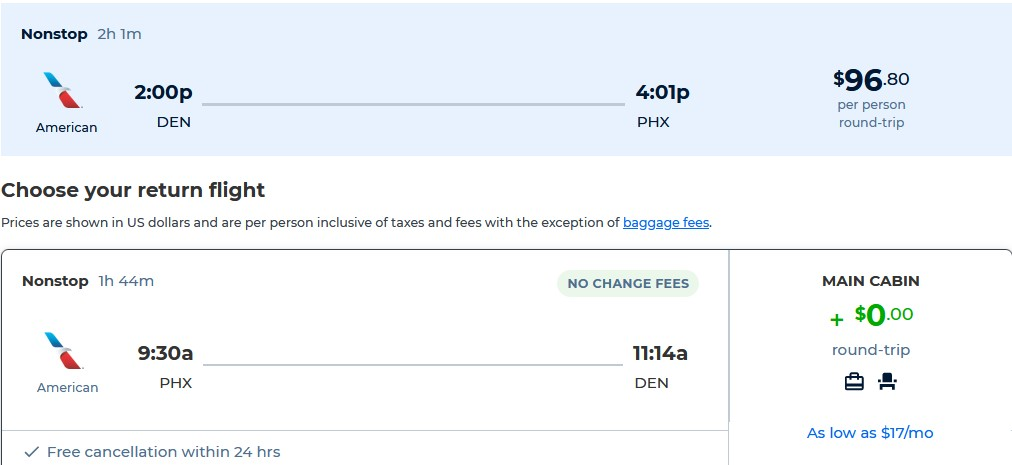 Non-stop flights from Denver, Colorado to Phoenix, Arizona for only $96 roundtrip with American Airlines. Also works in reverse. Flight deal ticket image.