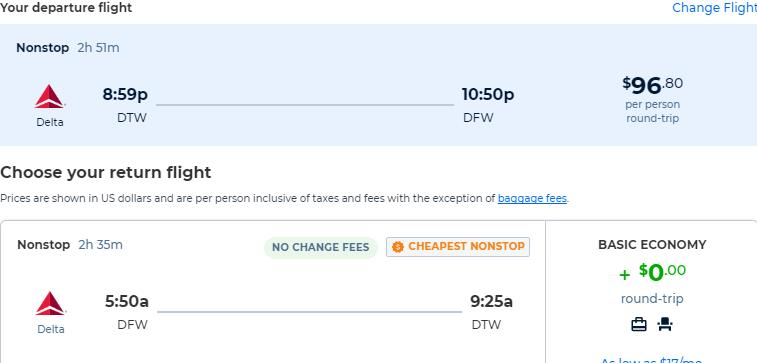 Non-stop flights from Detroit to Dallas, Texas for only $96 roundtrip with Delta Air Lines. Also works in reverse. Flight deal ticket image.