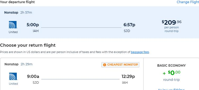 Cheap flights from Houston or Dallas, Texas to San Jose del Cabo, Mexico from only $209 roundtrip with United Airlines. Flight deal ticket image.