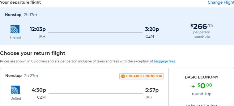 Non-stop flights from Houston, Texas to Cozumel, Mexico for only $266 roundtrip with United Airlines. Flight deal ticket image.