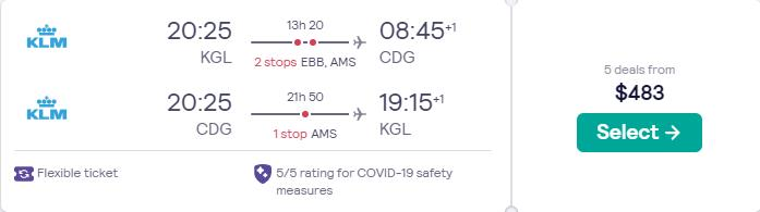 Summer and Christmas flights from Kigali, Rwanda to Paris, France for only $483 USD roundtrip with KLM. Flight deal ticket image.