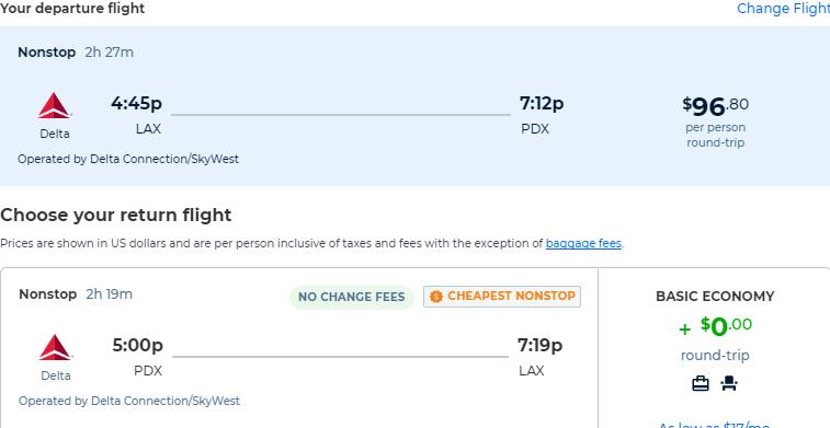 Non-stop flights from Los Angeles to Portland, Oregon for only $96 roundtrip with Delta Air Lines. Also works in reverse. Flight deal ticket image.