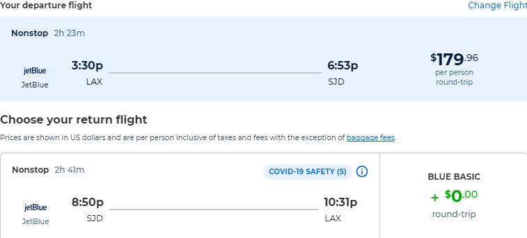 Non-stop flights from Los Angeles to San Jose del Cabo, Mexico for only $179 roundtrip with JetBlue. Flight deal ticket image.