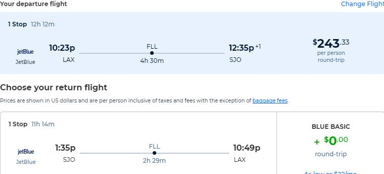 Cheap flights from Los Angeles to San Jose, Costa Rica for only $243 roundtrip with JetBlue. Flight deal ticket image.