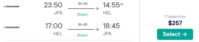 Cheap flights from US cities to Helsinki, Finland from only $257 roundtrip with Finnair. Flight deal ticket image.