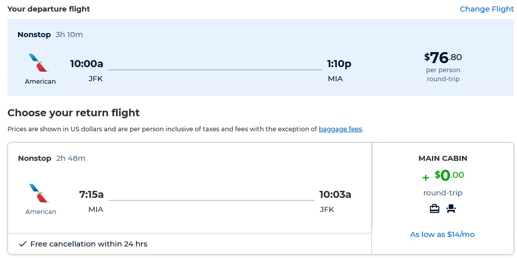 Non-stop flights from New York to Miami for only $76 roundtrip with American Airlines. Also works in reverse. Flight deal ticket image.