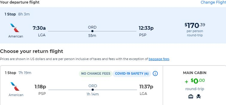 Cheap flights from New York to Palm Springs, California for only $170 roundtrip with American Airlines. Also works in reverse. Flight deal ticket image.
