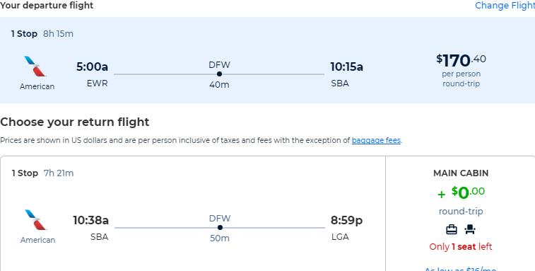 Cheap flights from New York to Santa Barbara, California for only $170 roundtrip with American Airlines. Also works in reverse. Flight deal ticket image.