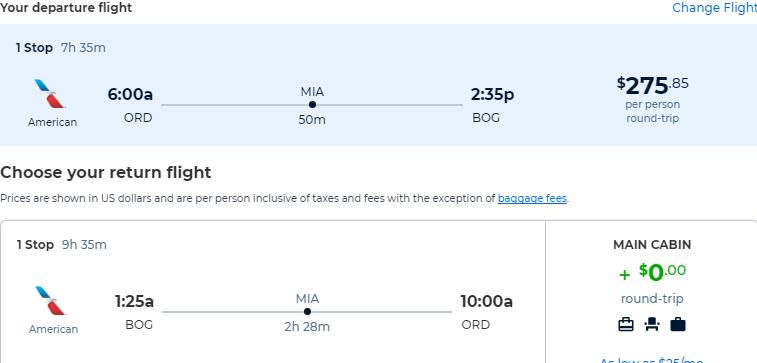 Cheap flights from Chicago to Bogota, Colombia for only $275 roundtrip with American Airlines. Flight deal ticket image.