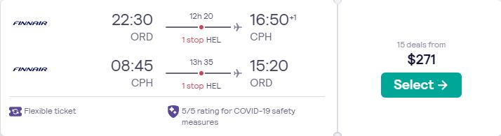 Cheap flights from US cities to Copenhagen, Denmark from only $271 roundtrip with Finnair. Flight deal ticket image.
