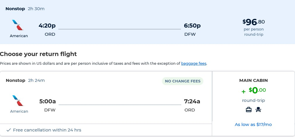 Non-stop flights from Chicago to Dallas, Texas for only $96 roundtrip with American Airlines. Also works in reverse. Flight deal ticket image.