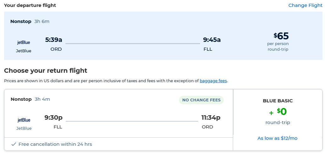 Non-stop flights from Chicago to Fort Lauderdale for only $65 roundtrip with JetBlue. Also works in reverse. Flight deal ticket image.