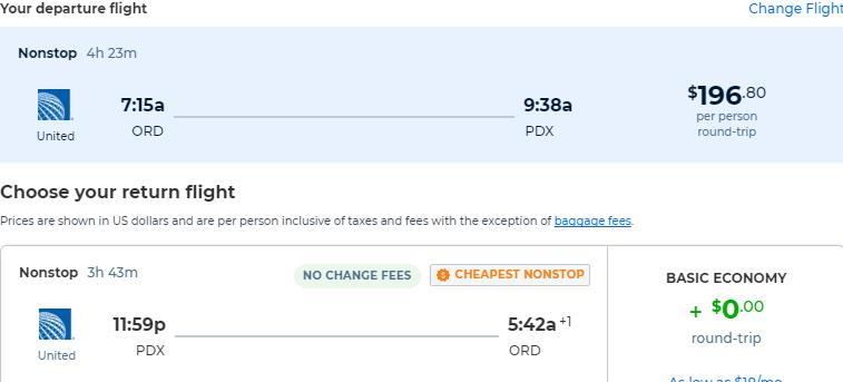 Non-stop flights from Chicago to Portland, Oregon for only $196 roundtrip with United Airlines. Also works in reverse. Flight deal ticket image.