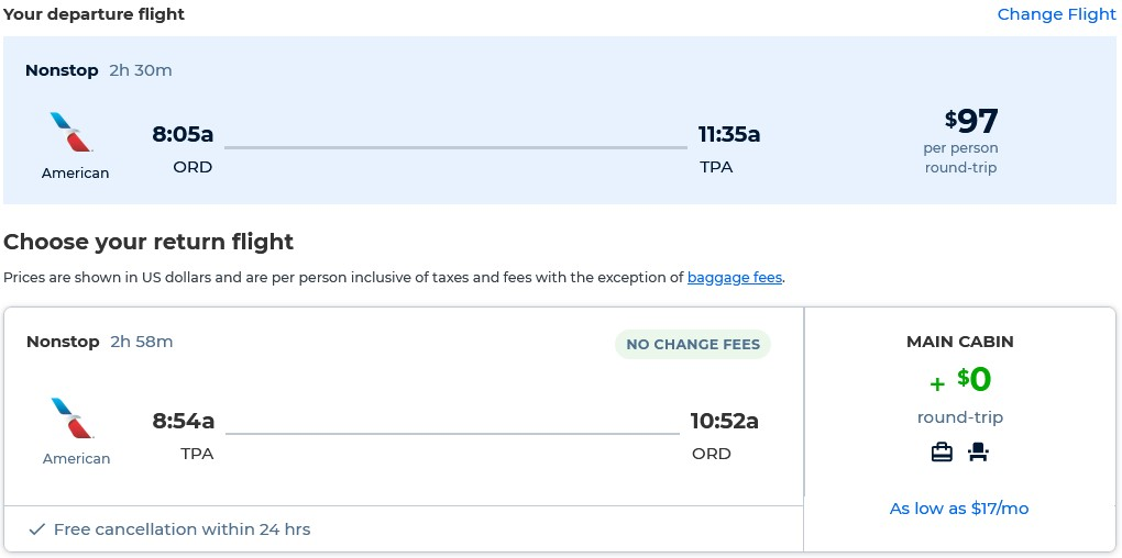 Non-stop flights from Chicago to Tampa, Florida for only $97 roundtrip with American Airlines. Also works in reverse. Flight deal ticket image.