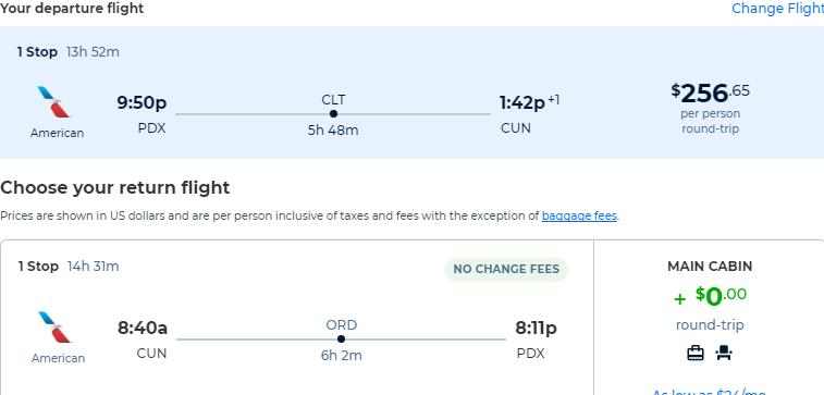Cheap flights from Portland, Oregon to Cancun, Mexico for only $256 roundtrip with American Airlines. Flight deal ticket image.