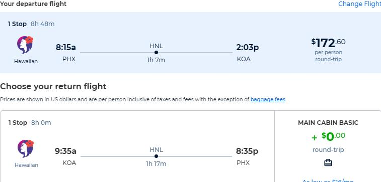 Cheap flights from Phoenix, Arizona to Kona, Hawaii for only $172 roundtrip with Hawaiian Airlines. Also works in reverse. Flight deal ticket image.