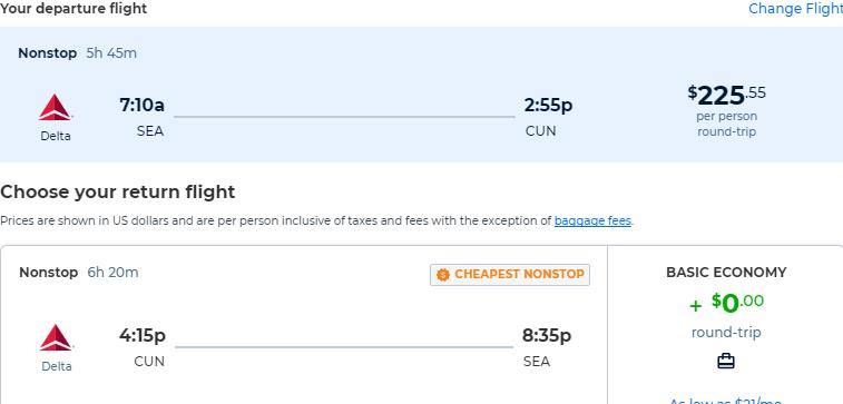 Non-stop flights from Seattle to Cancun, Mexico for only $225 roundtrip with Delta Air Lines. Flight deal ticket image.