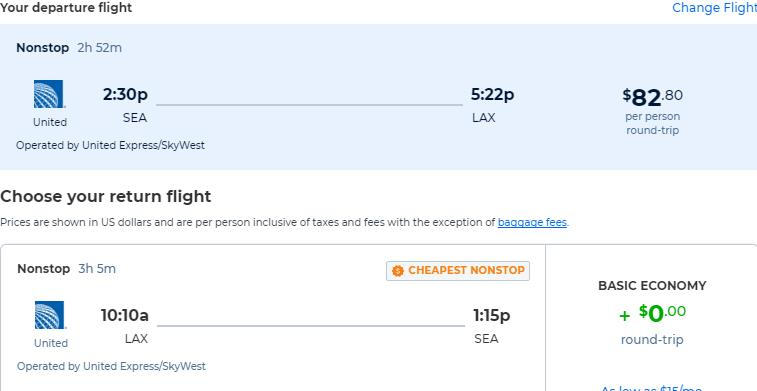 Non-stop flights from Seattle to Los Angeles for only $82 roundtrip with United Airlines. Also works in reverse. Flight deal ticket image.