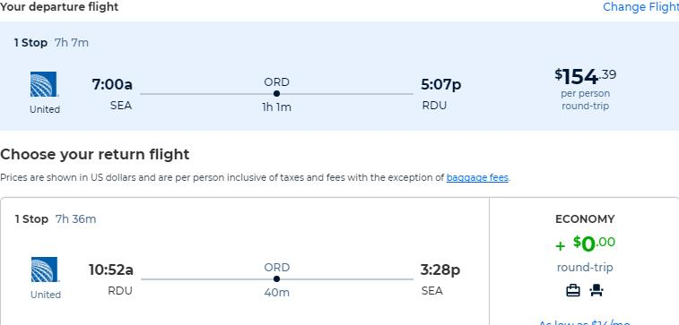 Cheap flights from Seattle to Raleigh, North Carolina for only $154 roundtrip with United Airlines. Also works in reverse. Flight deal ticket image.