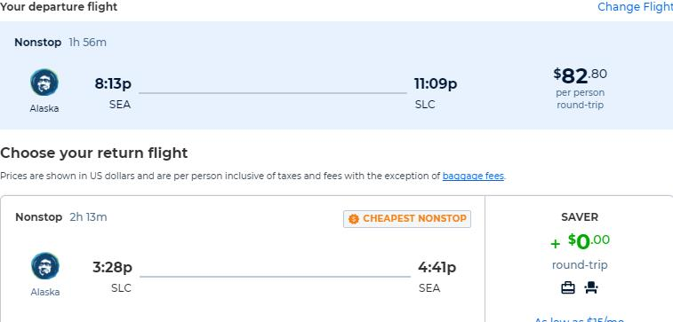 Non-stop flights from Seattle to Salt Lake City, Utah for only $82 roundtrip with Alaska Airlines. Also works in reverse. Flight deal ticket image.
