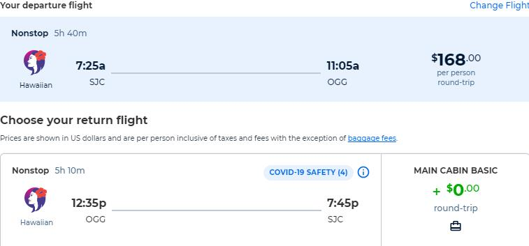 Non-stop flights from San Jose, California to Kahului, Hawaii for only $168 roundtrip. Also works in reverse. Flight deal ticket image.