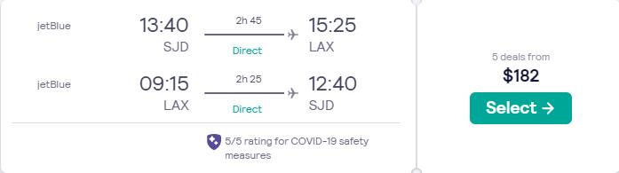 Non-stop flights from San Jose del Cabo, Mexico to Los Angeles, USA for only $182 USD roundtrip with JetBlue. Flight deal ticket image.