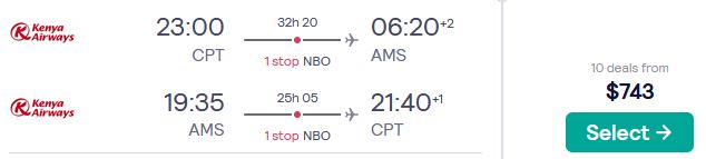 Error Fare Business Class flights from Cape Town, South Africa to Amsterdam, Netherlands for only $743 USD roundtrip. Flight deal ticket image.