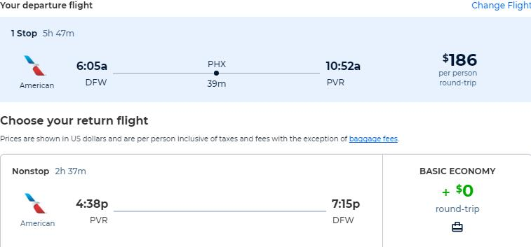 Cheap flights from Dallas, Texas to Puerto Vallarta, Mexico for only $186 roundtrip with American Airlines. Flight deal ticket image.