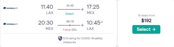 Cheap flights from US cities to Mexico City, Mexico from only $192 roundtrip with Aeromexico. Flight deal ticket image.