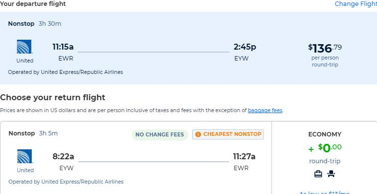 Non-stop flights from New York to Key West, Florida for only $136 roundtrip with United Airlines. Also works in reverse. Flight deal ticket image.