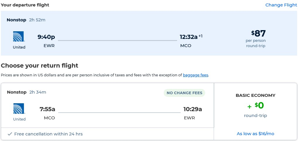 Non-stop flights from New York to Orlando, Florida for only $87 roundtrip with United Airlines. Also works in reverse. Flight deal ticket image.