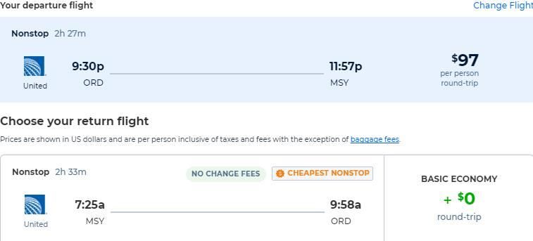 Non-stop flights from Chicago to New Orleans for only $97 roundtrip with United Airlines. Also works in reverse. Flight deal ticket image.