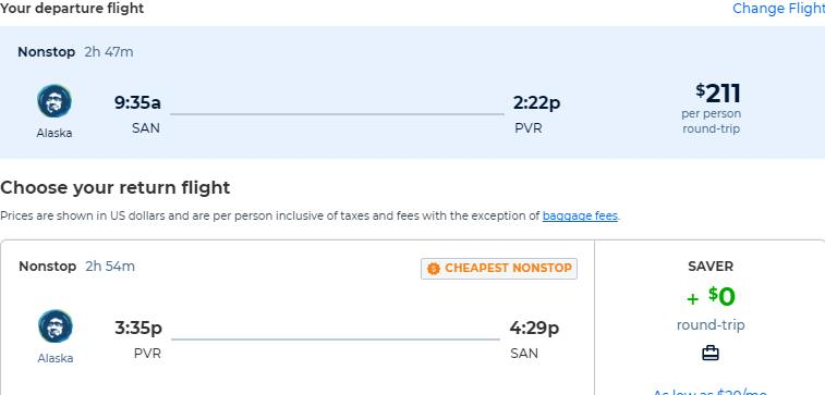 Non-stop flights from San Diego to Puerto Vallarta, Mexico for only $211 roundtrip with Alaska Airlines. Flight deal ticket image.